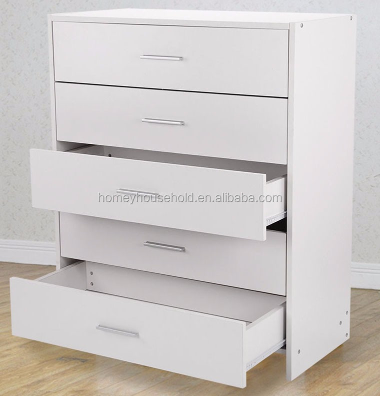 Wooden storage cabinet high gloss chest of 5 drawers for living room