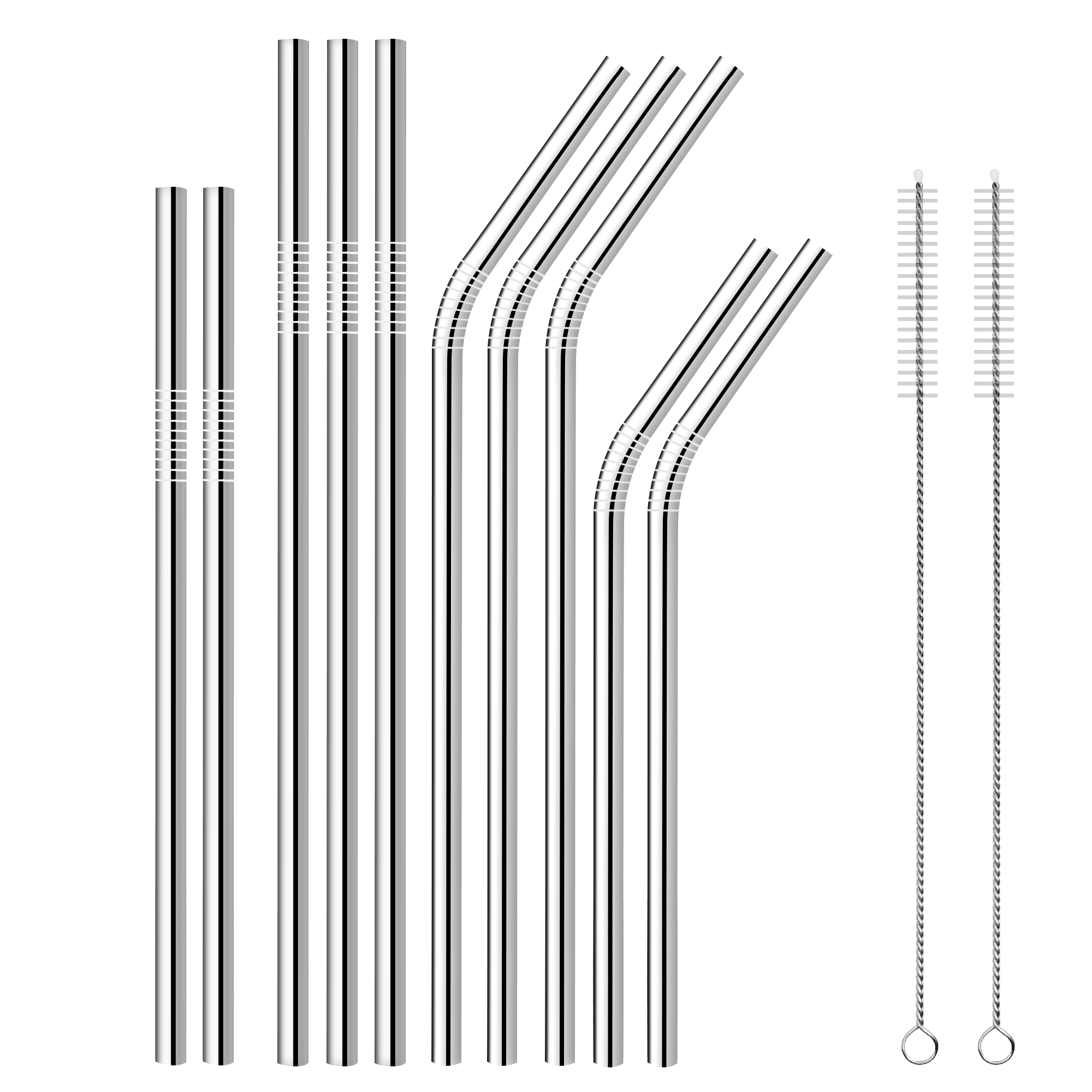silver stainless steel 304 drinking straw with brush