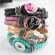 Fashion PU leather bangle bracelet snap button jewelry