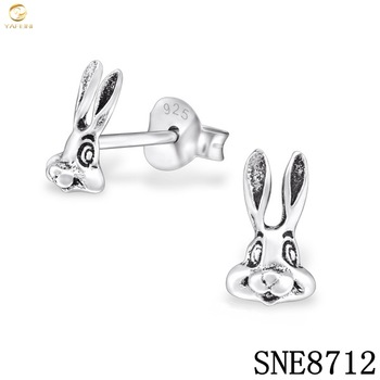 Cute Rabbit Simple White Gold Earring Designs For Women Lovely Animal Stud S
