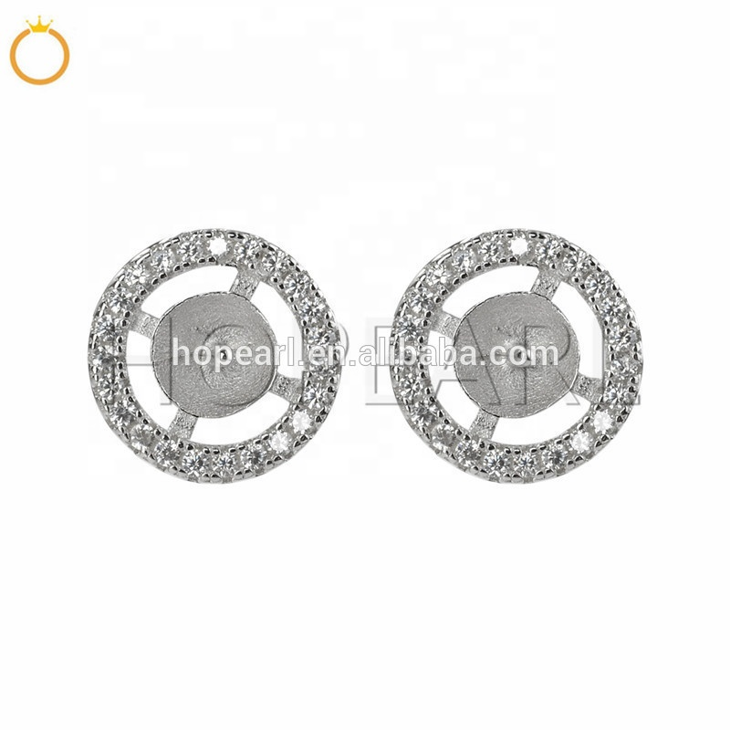 SSE252 Sterling 925 Zilveren Omcirkeld Zirconia Stud Earring Parel Mounts