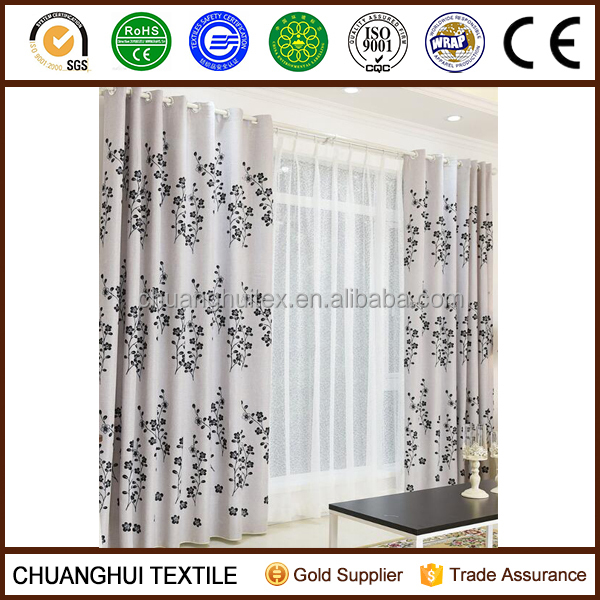 2015 new arrival flower flocking blackout curtain