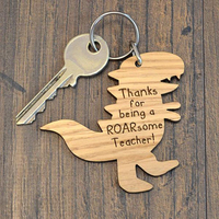 Cheap Custom Logo Engraved printed caving Wooden Keyring wood keychain for teacher's day
