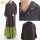 100% cotton made color blocked muslim long sleeve hooded long dress beaded abaya