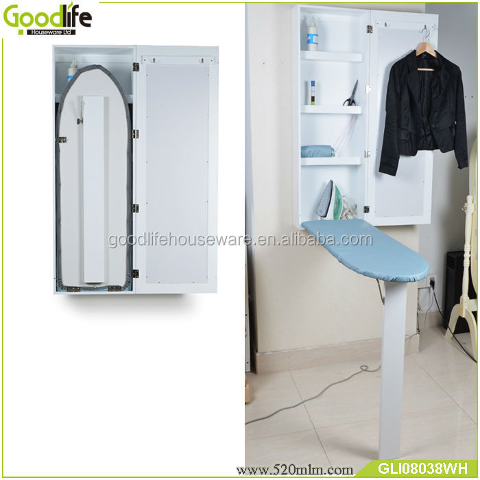 Wall Mounted Wooden Mirrored Cabinet With Ironing Table