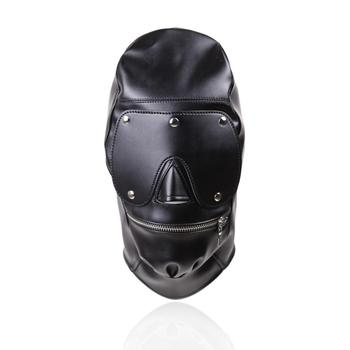 Leather black bondage hood head harness with mouth zipper and eye cover mask for restraint or slave cosplay