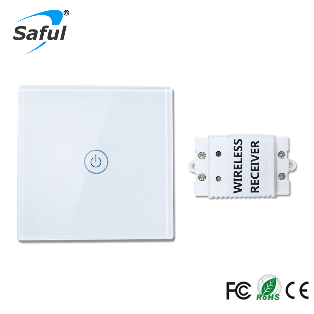 Smart Home Crystal Glass Panel Touch Switch 1 gang 1 way Wall Light Touch Switch with Battery