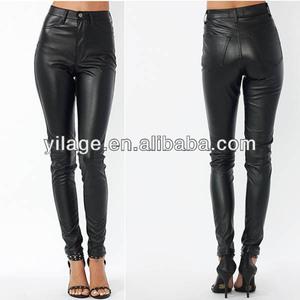 Faux Leather Motorcycle Bikers High Waist Fashion Skinny Pants L1200