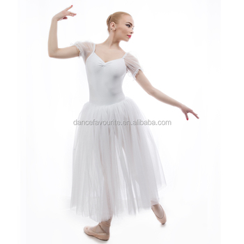 adult girls puff short sleeve white long romantic tutu 5 layers sparking tulles 17306