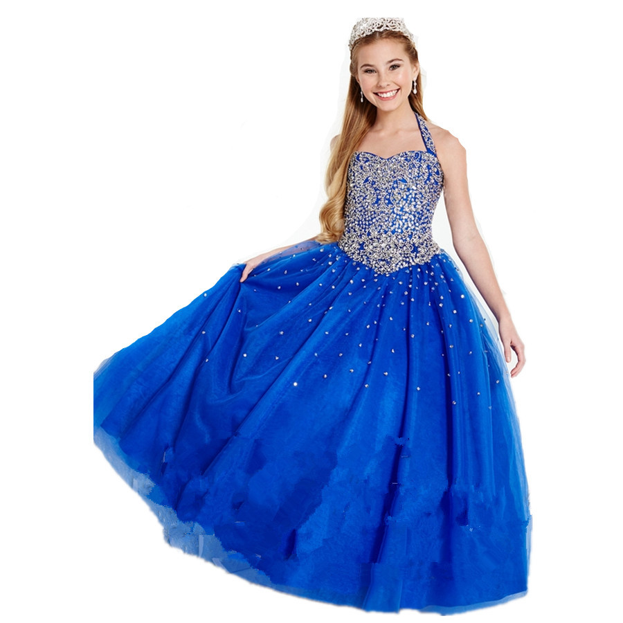 2015-new-style-royal-blue-halter-neck-off-the-shoulder-beaded-tulle-ball-gown-princess-pageant-dress