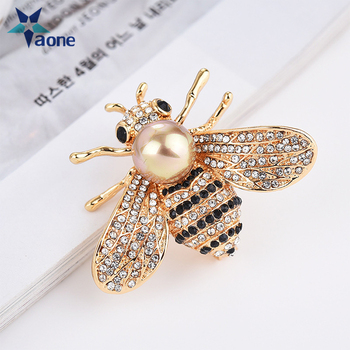 71ac0f043a1 2018 new animal yellow queen honey bee brooch pins rhinestone gold Crystal  bumble Gifts For Women