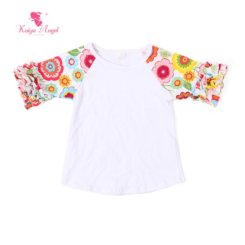 Half Sleeved Floral Prints Little Girls Ruffle Raglan Tops