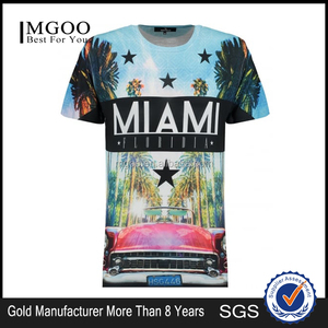 MGOO Customized Mens Black Miami Florida Graphic Print T-Shirt Digital Print Oversized Tee Full Print Crew Neck Summer Top