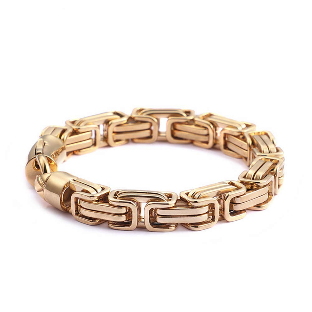 a80b018a5f Get Quotations · Hinghok Dubai Gold Stainless Steel Chain Link Bracelets  Men Fashion Male 22CM Gold Wrap Bracelets Biker
