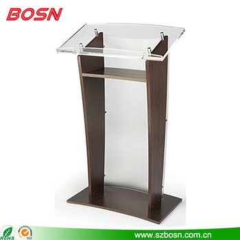 2017 new functional popular plexiglass pulpit with wood for sale