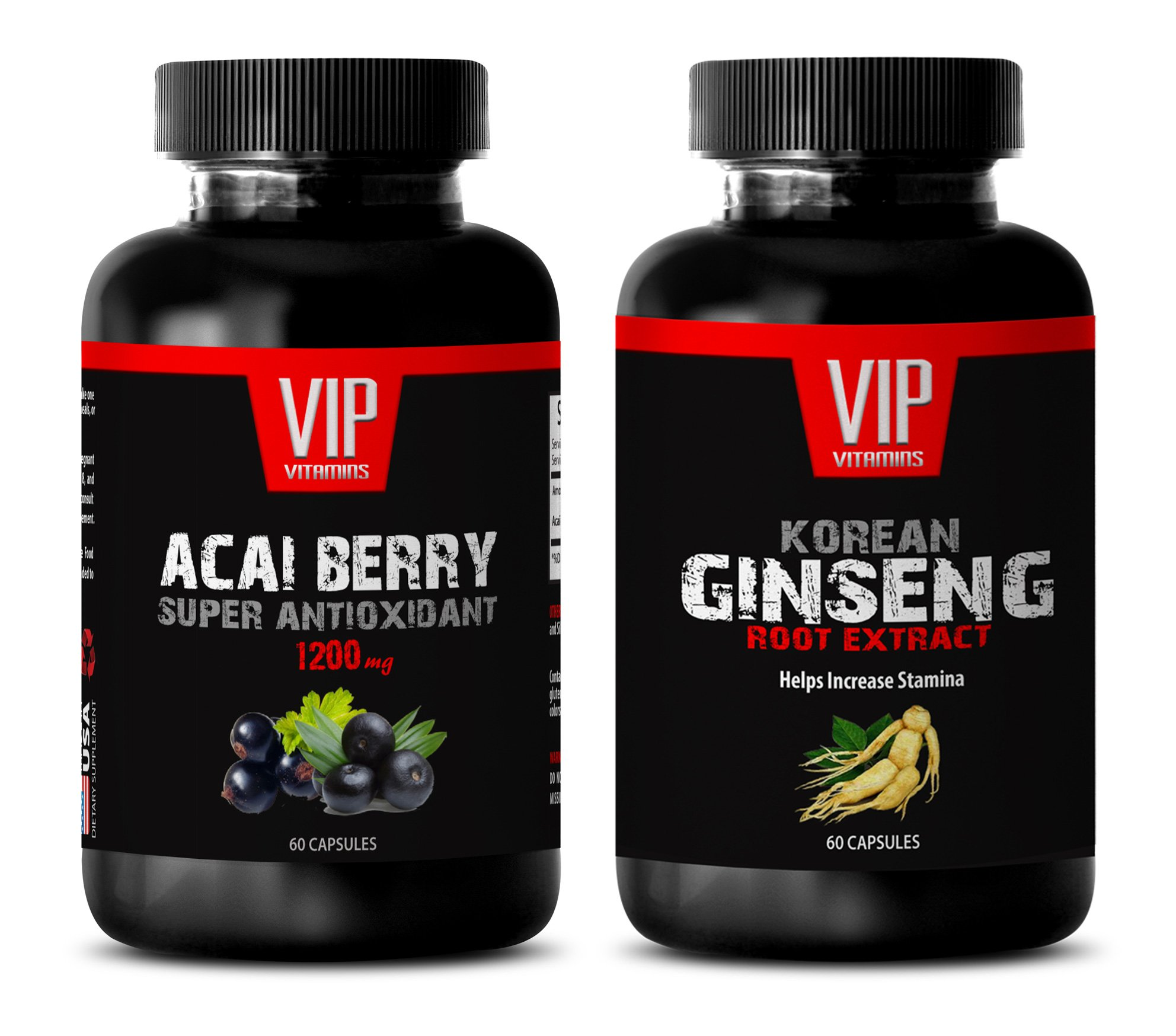 metabolism slow down pills - ACAI BERRY EXTRACT – KOREAN GINSENG EXTRACT - ginseng extract - 2 Bottles Combo (60 Capsules + 60 Capsules)