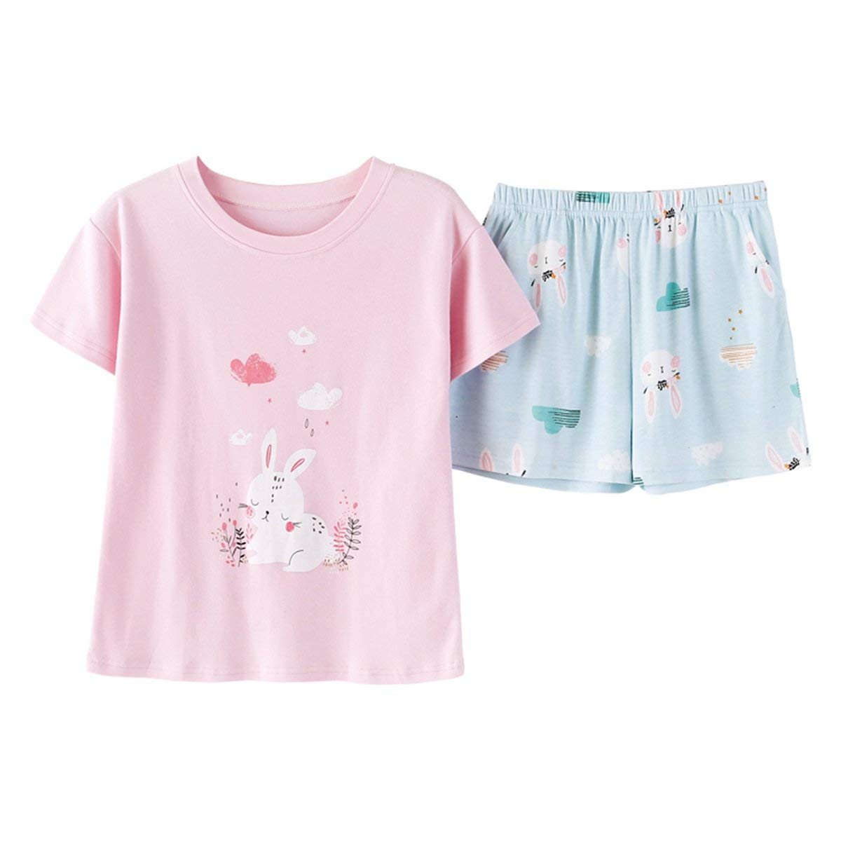 Get Quotations · KINYBABY Girls Cotton Pajama Sets Kids Clothes Short Sets  Rabbit Pjs Sleepwear Top and Shorts 74a4c7248