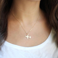 Fashion Stainless Steel 14K Gold Filled Tiny Airplane Necklace Women Chain Charm Pendant Jewelry Gift