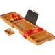 Natural Bamboo Water Resistant Bathtub Caddy Tray Organizer for Bath Stuff and Accessories