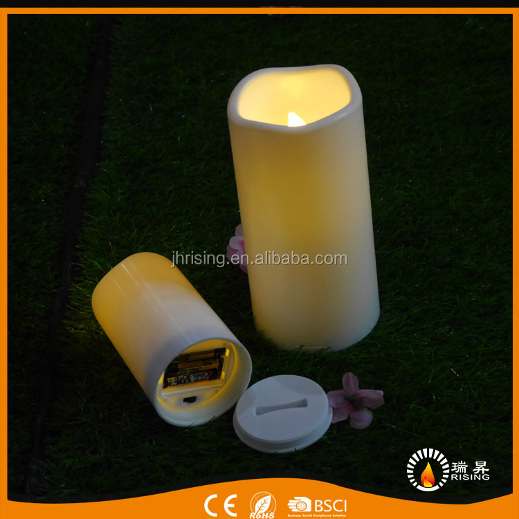 hot sell outdoor plastic candles decorative flickering waterproof outdoor Led candle