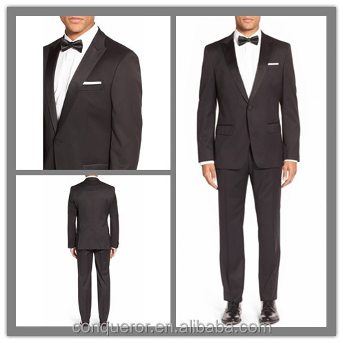 OEM Factory Price Customized Satin Lapel Men's Black Tuxedo Suit (SUIT62442)