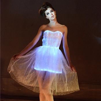 2017 Luminous Led Light Up Real Sample Lace Short Wedding Dress