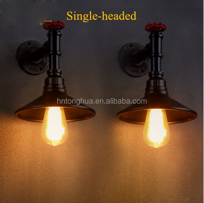 American style retro single/double-headed water pipe industrial wall lamp