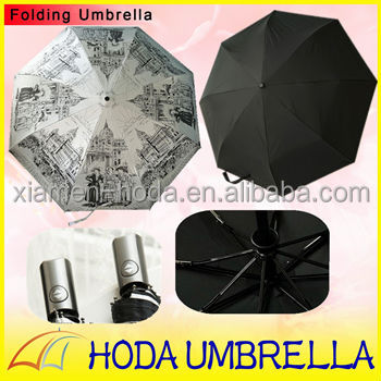 Auto Open and Close Light-proof Anti-UV Retro Old Castle Printing 3 Folding Umbrella For Two Function Umbrella Folding Rain