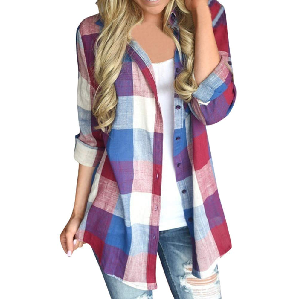Snowfoller Women Plaid Shirts,Fashion Turn-Down Collar Long Sleeve Tops Casual Button Down Coat Outwear