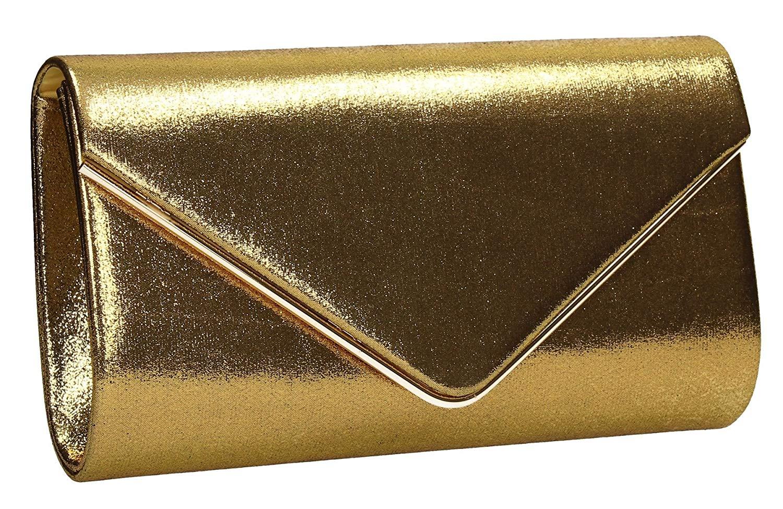 Olivia Envelope Glitter Sparkle Womens Envelope Party Prom Ladies Clutch Bag - SWANKYSWANS