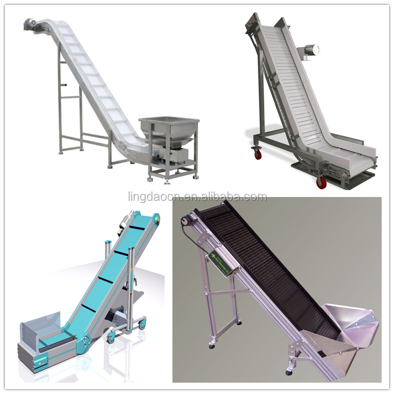 Plast Link Stainless steel plastic inclined conveyor belt /Lifting conveyor/ Food belt conveyor for inclined transport