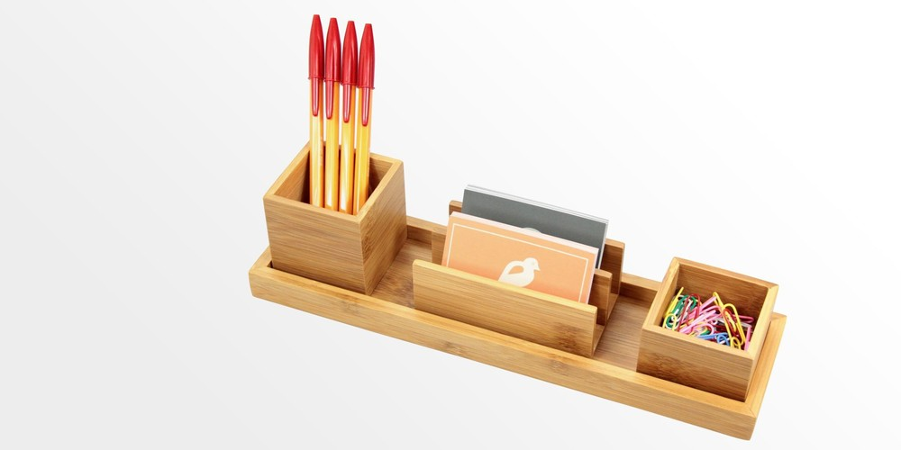 Desk stationery organiser pen pencil letter rack holder made of natural bamboo storage box - Desk stationery organiser ...
