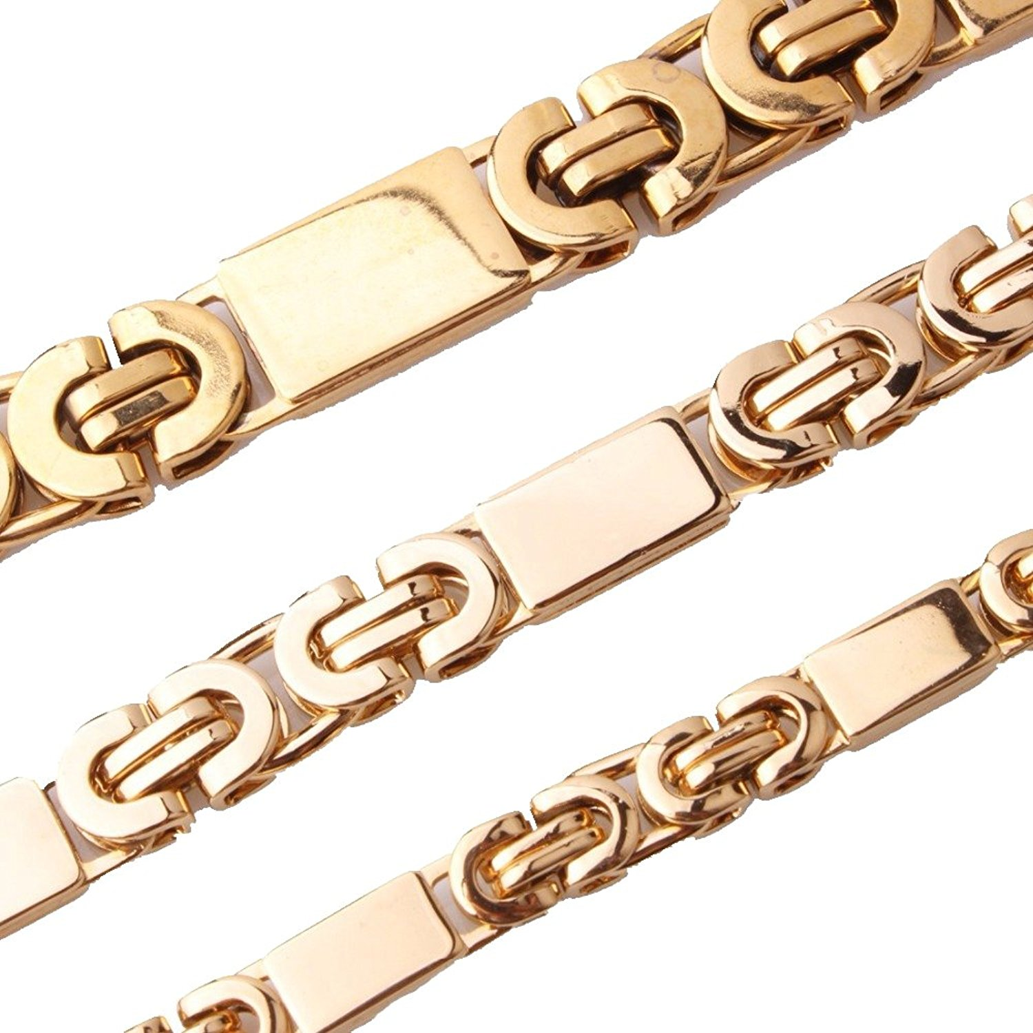 6/8/11mm Wide Flat Gold Tone Byzantine Chain Necklace Cool Men's Stainless Steel Jewelry,16-40""