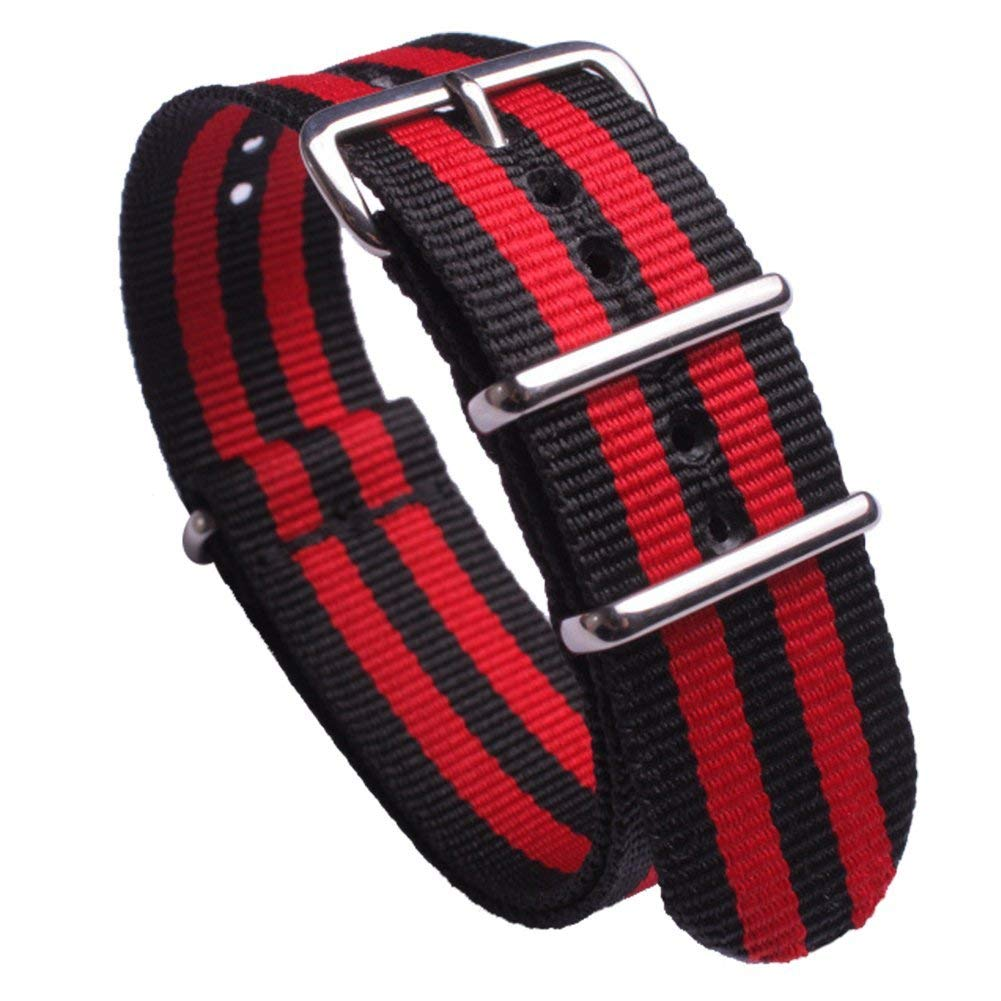 Premium Regimental NATO Watch Bands for Men Ballistic Nylon Watch Straps Navy and Red Wristband with Round String Stainless Steel Buckle Width 18mm 20mm 22mm 24mm