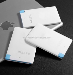 Newest super Slim Credit Card Business card built-in cable portable Power Bank with custom logo color 2600mAh 2200mAh/1800