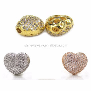 12mm diy jewelry accessories micro pave cubic zirconia heart shape crystal beads