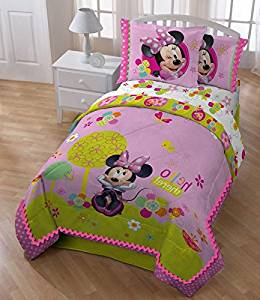 5 Piece Girls Disney Pink Minnie Mouse Comforter Full Set, Cute Multi Floral Heart Polka Dots Bedding, Pretty Mini Bow Flower Themed, Girly Daisy Flowers Dot Zigzag Border, Green Light Purple Teal