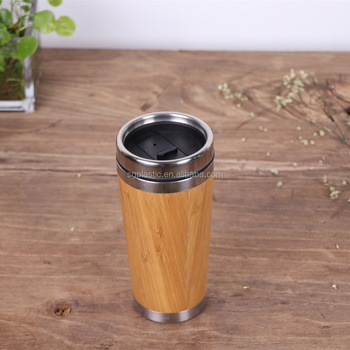 2016 new design double wall bamboo travel mug with customizable logo