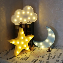 Lovely Cloud Light 3D Star Moon Night Light LED Cute Marquee Sign For Baby Children Bedroom Decor Kids Gift Toy
