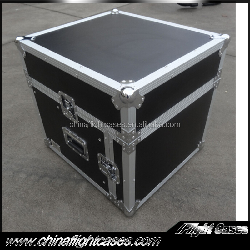 "3/8"" Plywood 10 Space Rack Hard Road Case with Slant Mixer Top - PA/DJ Pro Audio Flight Case"