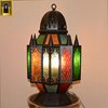 Custom printed Decorative Black Stand up Mosaic Islamic lamp mosaic moroccan Candle holder Ramadan Metal Lantern