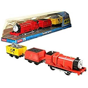 Fisher Price Year 2014 Thomas and Friends Trackmaster As Seen on DVD ' Tale of the Brave' Enhanced Motorized Railway Battery Powered Engine 3 Pack Train Set - SCARED JAMES the Red Color Mixed-Traffic Engine with 'Coal Loaded' Car and 'Rock Loaded' Yellow Car