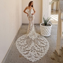 Sexy Hoa Ren Mermaid <span class=keywords><strong>Wedding</strong></span> Dress với Train Spaghetti Dây Đeo Sâu V-Cổ <span class=keywords><strong>Wedding</strong></span> Gown Thiết Kế Bridal Dresses 2019