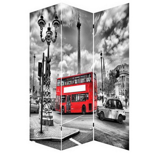 Folding screen room divider Black and white London city pictures canvas printing for home decorative art work cheap price
