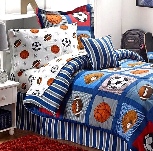 Boys Sports Patch Football Basketball Soccer Baseball Blue Reversible Comforter Set Full Size 8pc