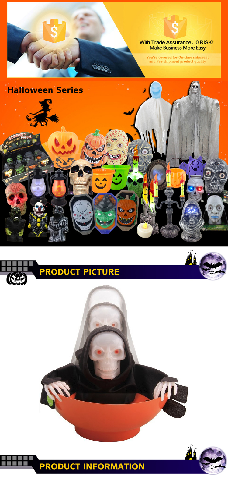 Halloween Toy Wholesale Halloween Candy Bowl  With Light and Sound