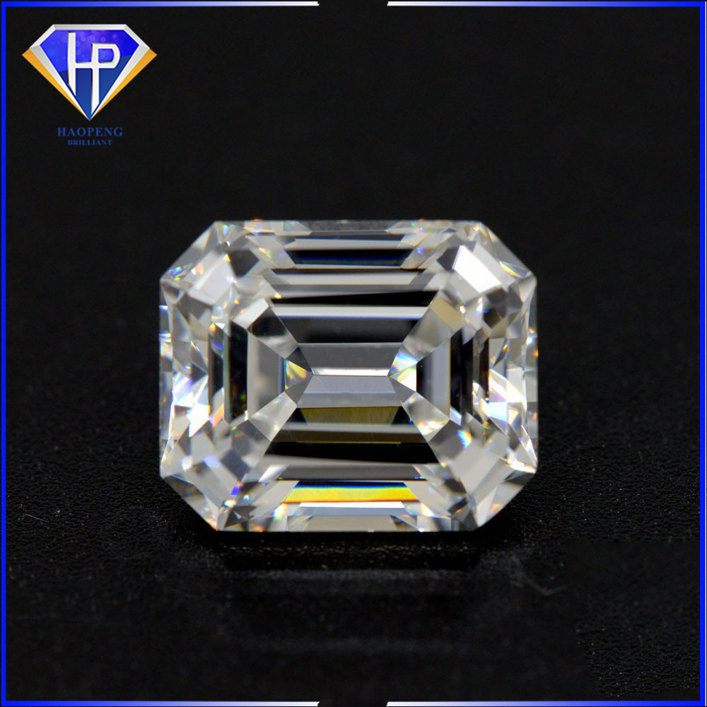 Free Sample High Quality Very Light Yellow CZ Emerald Cut Diamond Shape Cubic Zirconia