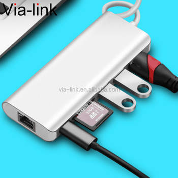 USB C Hub Via-link 6 in 1 with 4K@30Hz HD USB3.0 Power Supply Ethernet Network Card Reader SD TF Type C Adapter