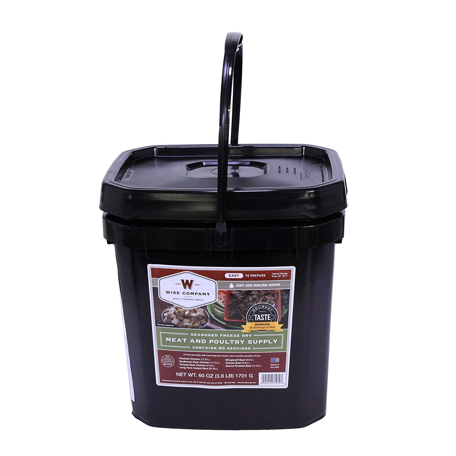 Wise Foods Grab And Go Bucket 80 Serving Pack (60 Meat/20 Rice)