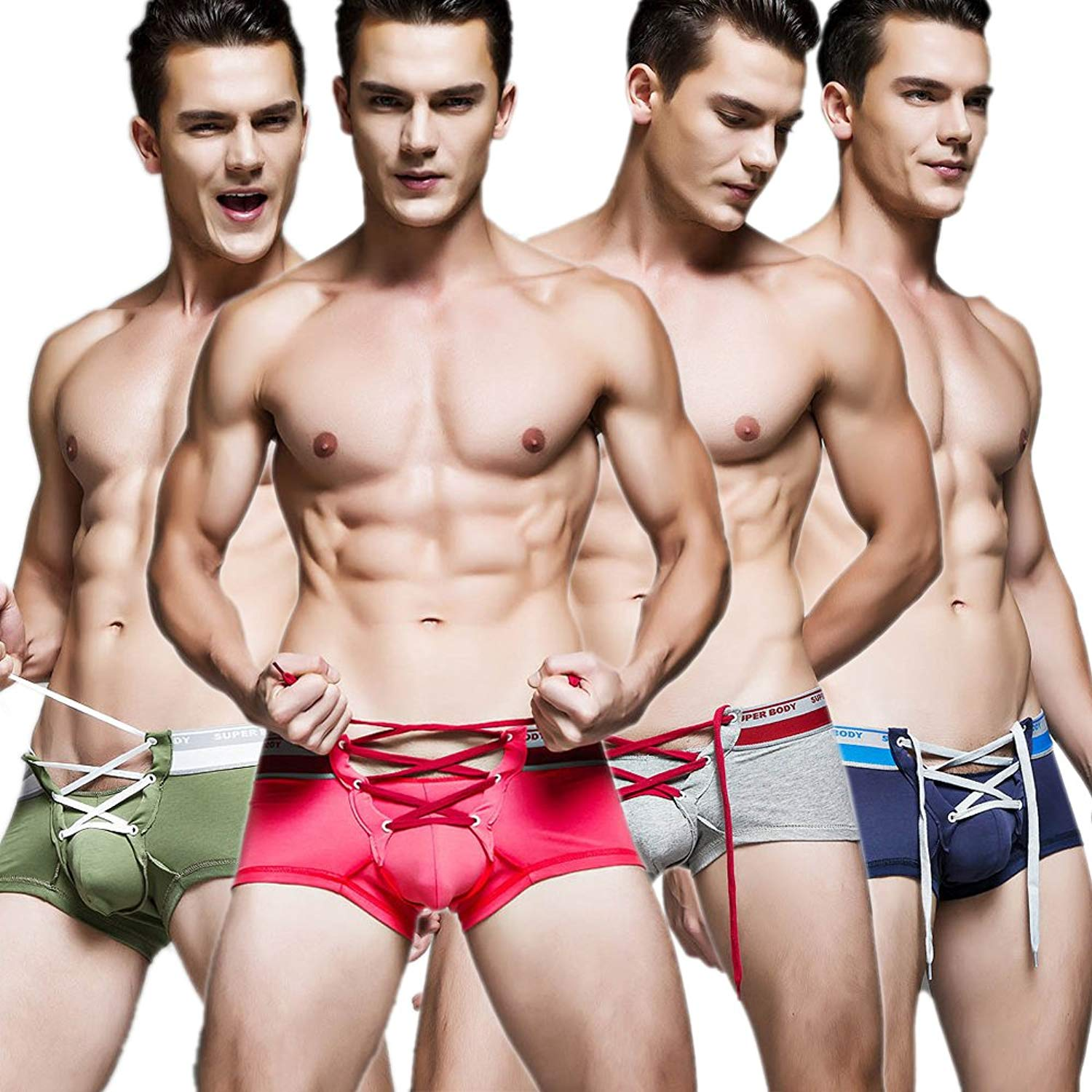 9122fff42f3 Get Quotations · Ykeke 4 Pcs lot Men Sexy Lingerie Cotton Tie Rope Cute  Boxer Brief Underwear Panties